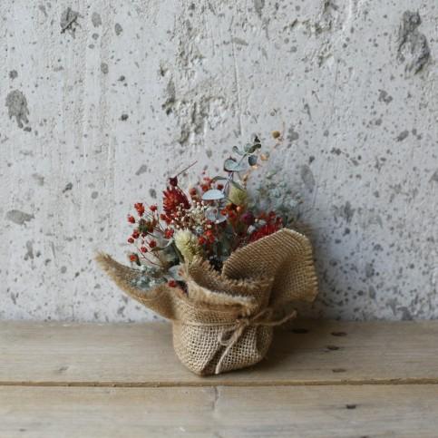 Saquito Cuadrado Arpillera Flor Preservada