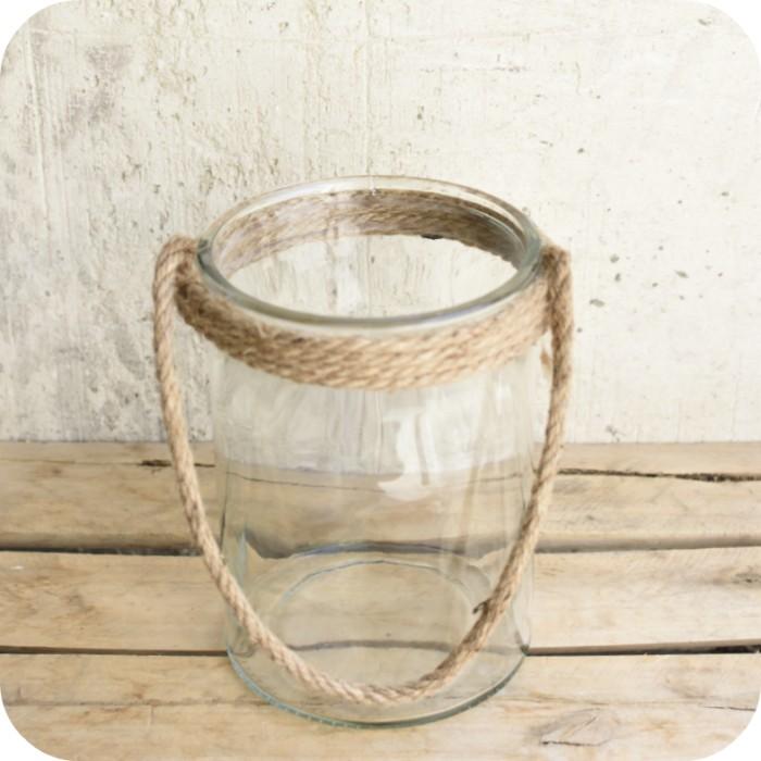 Jarrón de cristal con cuerda
